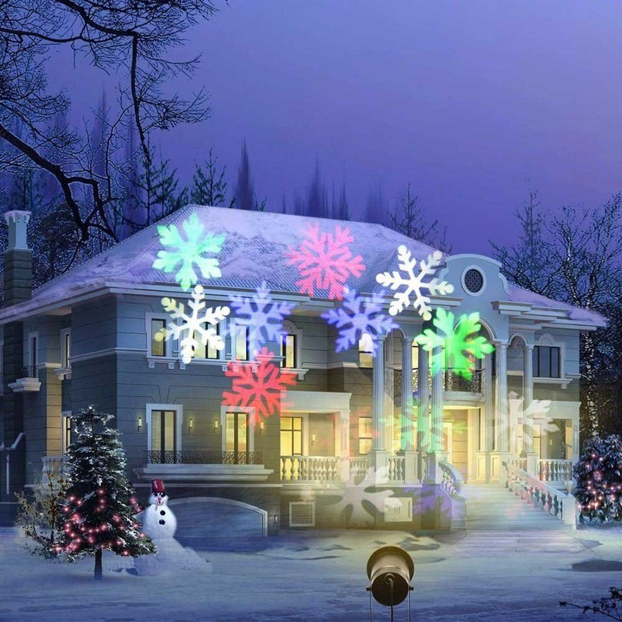 Waterproof Moving Snowflake Laser Projector light Christmas New Year LED Stage Light Outdoor Snow Party Garden Landscape Lamp new mini snowfall projector christmas lights outdoor projector ip65 moving head laser snow led stage light for xmas party lights