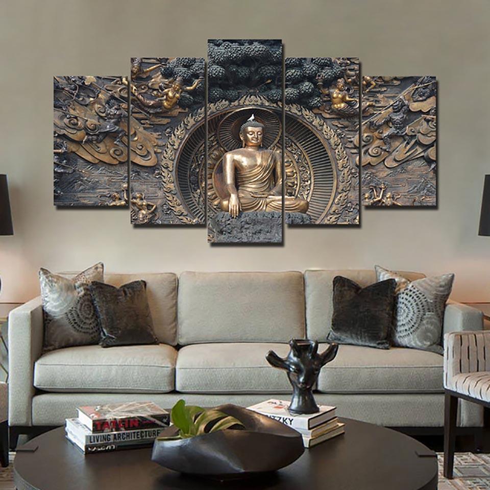Full Square Drill 5D DIY Diamond Painting 5 Pcs Buddha Statue Creative Embroidery Set Cross Stitch Mosaic Home Decor Bedroom