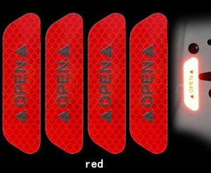 4Pcs Car Door Stickers OPEN Sign Safety Reflective Strips for saab key 9-3 9-5 emblem 93 evening dress 95 900 9000 Accessories