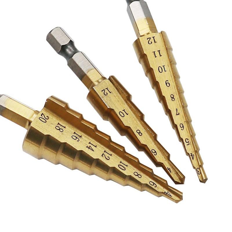 Wiertło stopniowe HSS z tytanu 3-13 / 3-12 / 4-12 / 4-20 / 4-22 / 4-32mm narzędzia tnące stożkowe do obróbki drewna wiertło do otworów w metalu