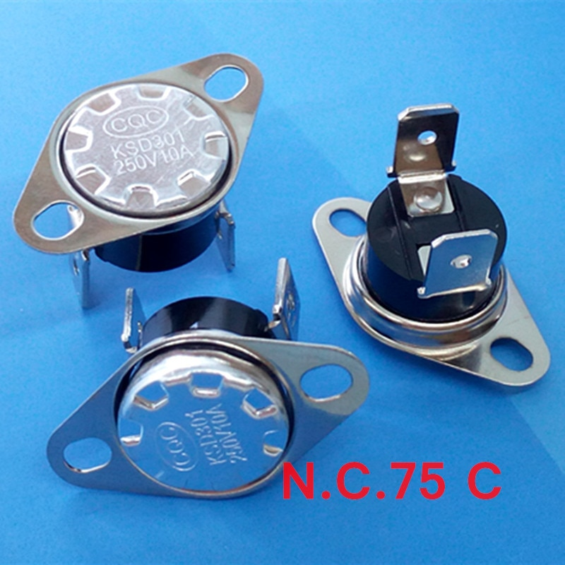 (100 قطعة/الوحدة) ksd301 nc ترموستات ، الحرارة التبديل ، عادة قريبة ، nc 75 مئوية ، 10a 250 فولت.
