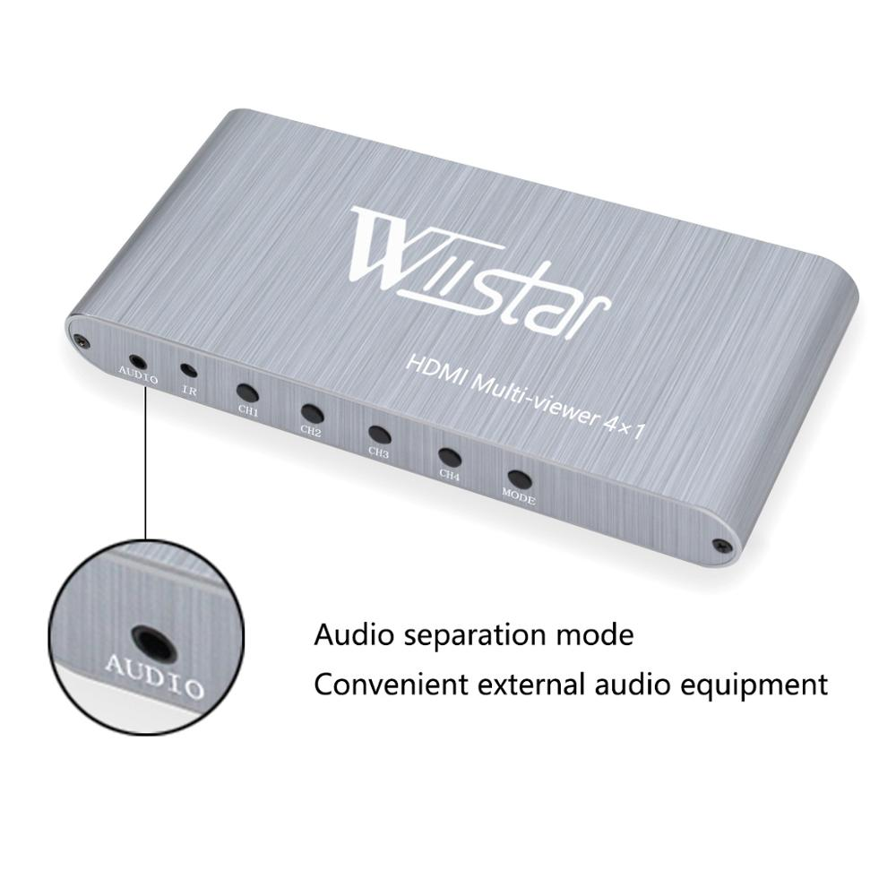 Wiistar 4x1 HDMI Switch Multi-Viewer HDMI 4x1 Quad Screen Real Time Multi-Viewer HDMI Splitter Seamless Switcher with IR Control enlarge