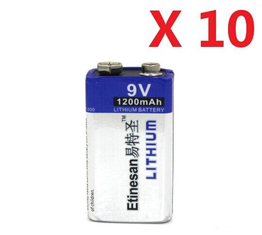 Мощный 10 шт./лот 1200 мАч Etinesan 9 в Li Batteries 9 В литий-ионная литиевая батарея ультра длительный срок службы для дымовых сигнализаций