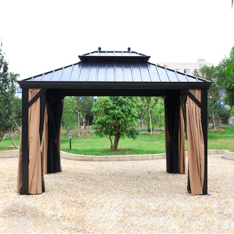 10 '× 12' الصلب الصلب الألومنيوم شرفة دائمة مع 2 طبقات الجدران الجانبية في جميع الأحوال الجوية لحديقة الفناء في الهواء الطلق