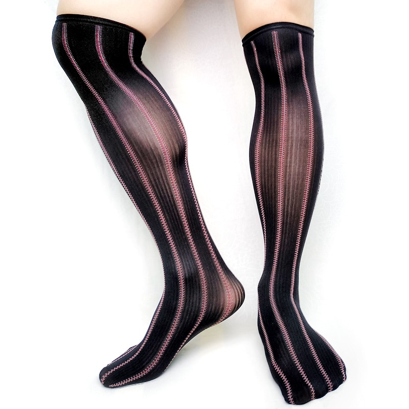 High Quality Stretch Striped Formal Mens Socks Tight High Sexy Gay Male Stocking Collection Fetish Softy Black Male Dress Socks enlarge