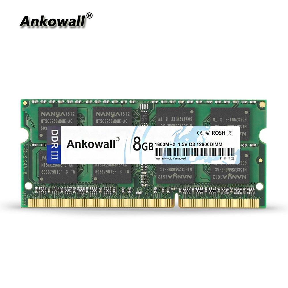 Ankowall marca ddr3 SO-DIMM 8g 4 gb 2 ram 1333/1600 mhz 1.5 v 204pin memória notebook PC3-10600/12800 portátil ram