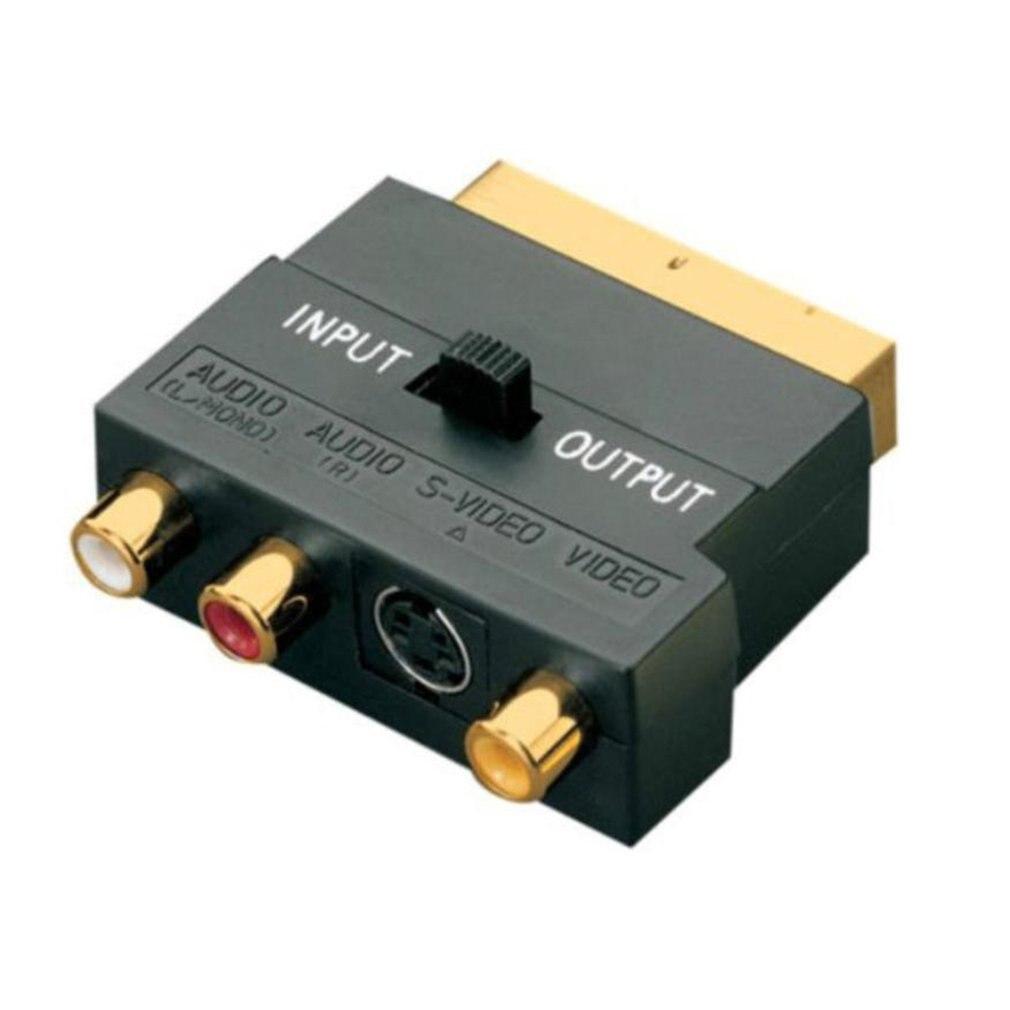 Адаптер SCART AV Block To 3 RCA Phono Composite S-Video с переключателем In/Out Scart to SVHS Adapter для видео DVD Recorder