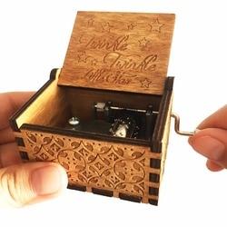 Antigo esculpido de madeira cintilação pequena estrela caixa de música chá de fraldas festa de aniversário do bebê melhor presente