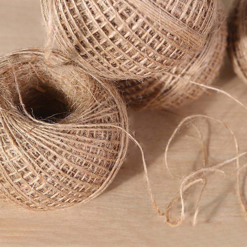 Шнур из натурального джутового шпагата 100 м, рустикальная плетеная веревка для рукоделия, веревка для мешковины, для вечеринки, упаковка для свадебного подарка