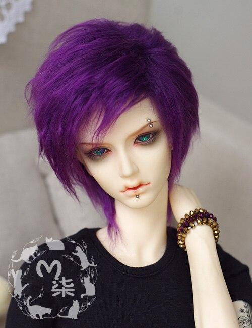 Nuevo 1/3 22-23cm 20-21cm 1/4 18-19cm 1/6 16-17cm profundo púrpura largo medio Furbic Peluca de peluca BJD SD MSD YOSD muñeca peluca