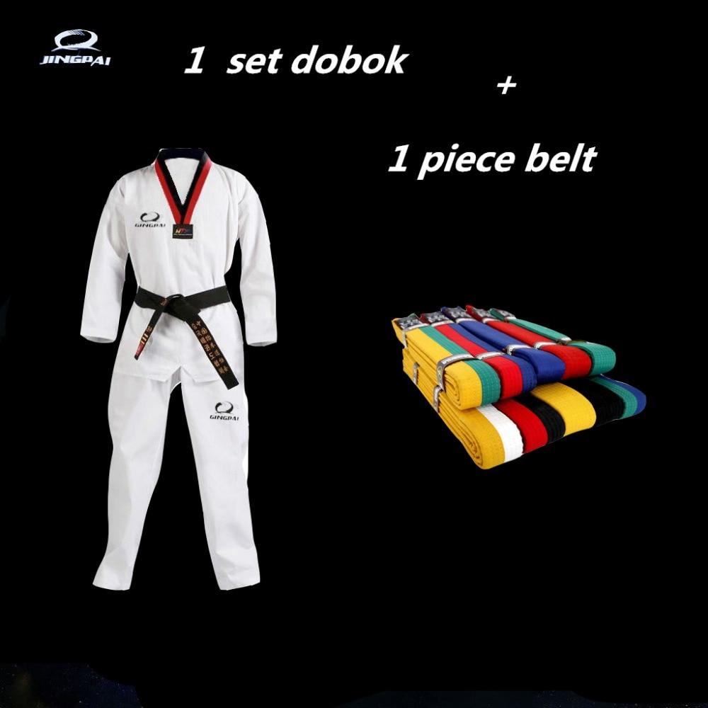 Taekwondo, WTF Dobok negro V para niños adultos artes marciales Karate Taekwondo uniforme con cinturón