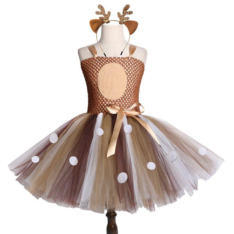 Brown Cervos Do Natal Tutu Vestido de Bebê Meninas Vestidos de Festa de Aniversário Crianças Purim Feliz do Dia Das Bruxas Natal Animais Veados Sika Vestido