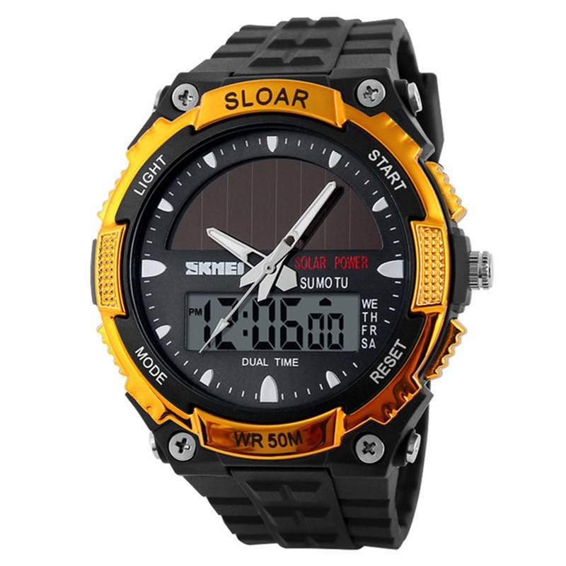 Reloj deportivo SKMEI para hombre, Relojes de pulsera digitales para hombre, máxima potencia Solar para exteriores, reloj resistente al agua de 12/24 horas para hombre, Relojes