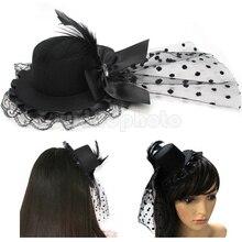 Mulheres elegantes Pena Bowknot Grampos de Cabelo de Cristal Lace Malha Mini Top Hat Fancy Dress Partido Cosplay Véu Fascinator Acessório Novo