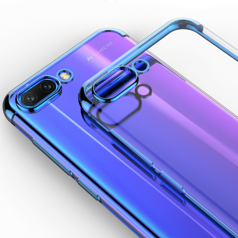 Huawei honor 9 lite 10 lite funda silicone fina transparente chapeamento macio tpu caso huawei honor 8 9 10 lite 8pro capa de telefone