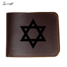 Carteira de couro genuíno dos homens hexagram israel magen david estrela cartão carteira gravar nome israel exército vaca couro curto bolsa masculina