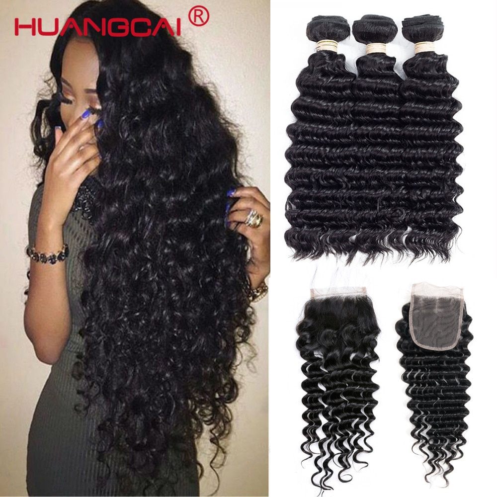 Malaysian Hair Deep Wave Bundles With Closure 100% Human Hair Extension Curly Hair For Women Natural Color 4 Pcs Remy 8-32inch