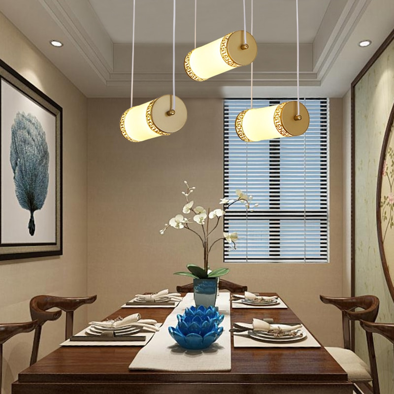 New Chinese-style cylinder design golden paint iron acrylic 3 lights pendant lamp simple creative LED restaurant decor lighting