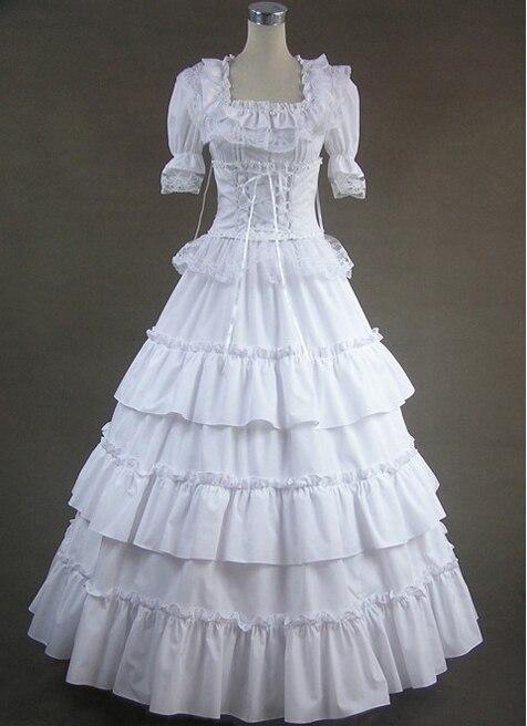 لوليتا الدانتيل الأبيض الأنيق الفستان الفيكتوري نمط كلاسيكي أبيض طويل حفلة موسيقية عصر فستان الكرة ثوب القوطية