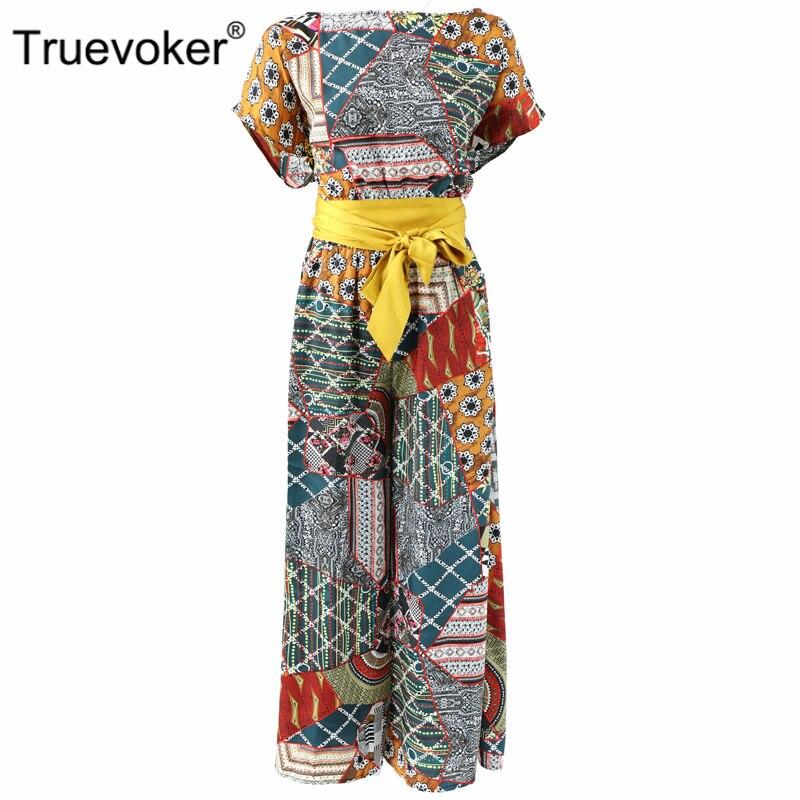 Truevoker, mono Europeo de Verano de diseñador, mono de mujer de alta calidad, de manga corta, Vintage, étnico, estampado bohemio, cintura atada en general