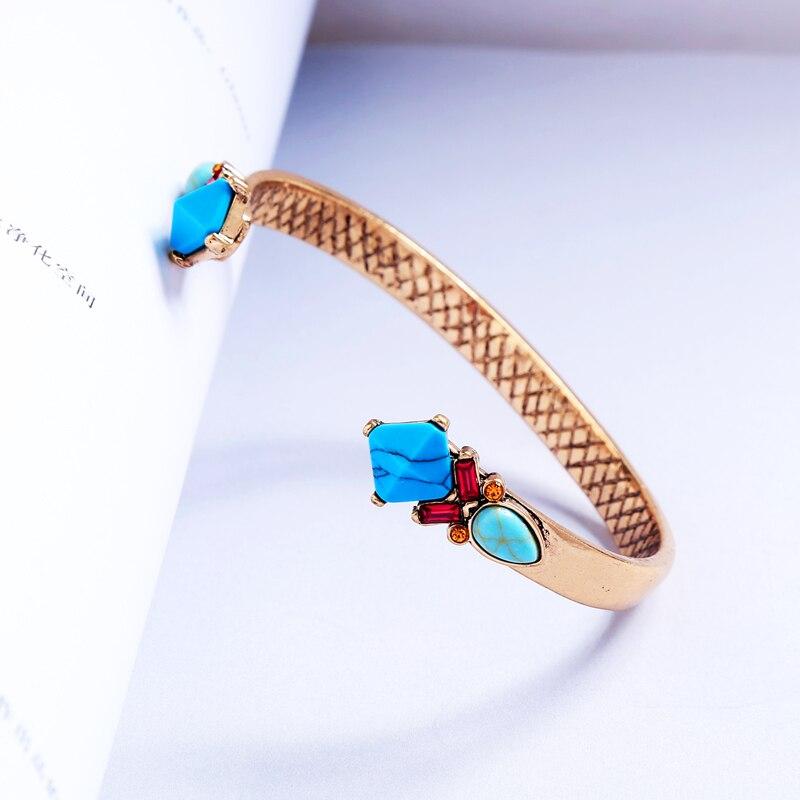 New Bohemia Azul Resina Pedra Sintética Pendente Bangle Para Mulheres Geometria Pulseiras de Cristal de Luxo de Jóias Por Atacado