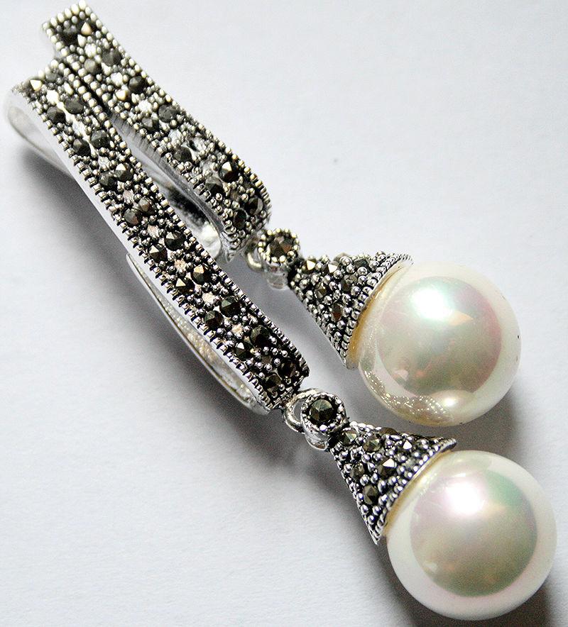 925 bijoux en argent Esterlina marcassite blanc deux 12mm Shell pendentif perle boule 58*20 milímetros