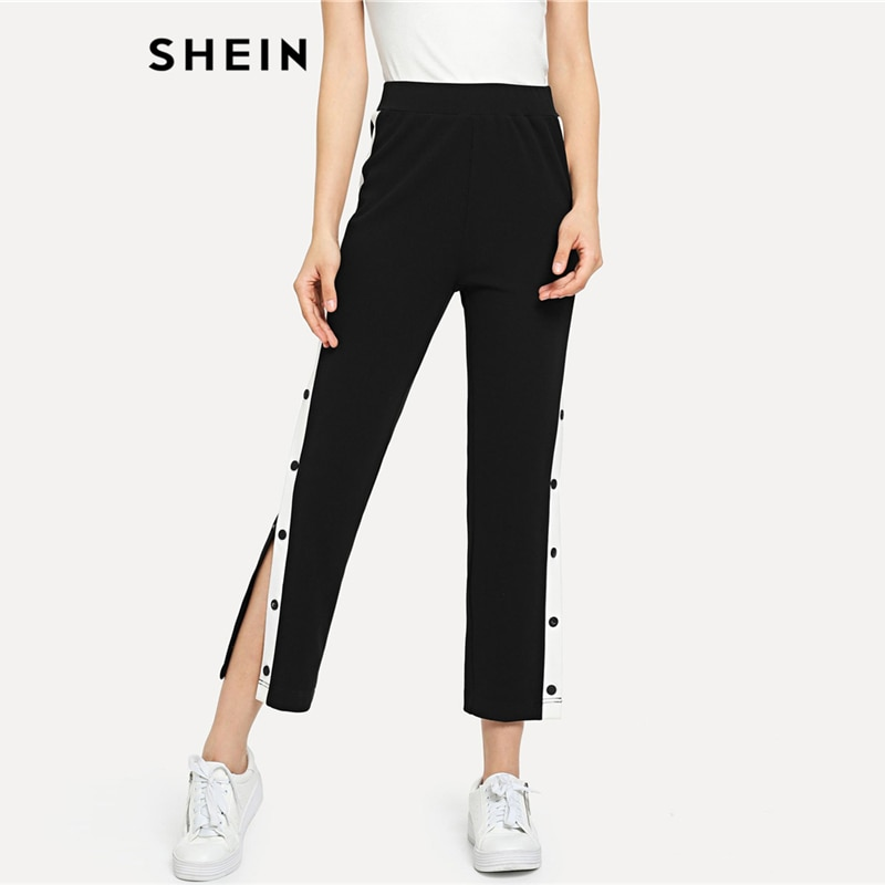 SHEIN Black Colorblock Contrast Snap Button Side Pants Casual High Waist Crop Trousers Women Autumn