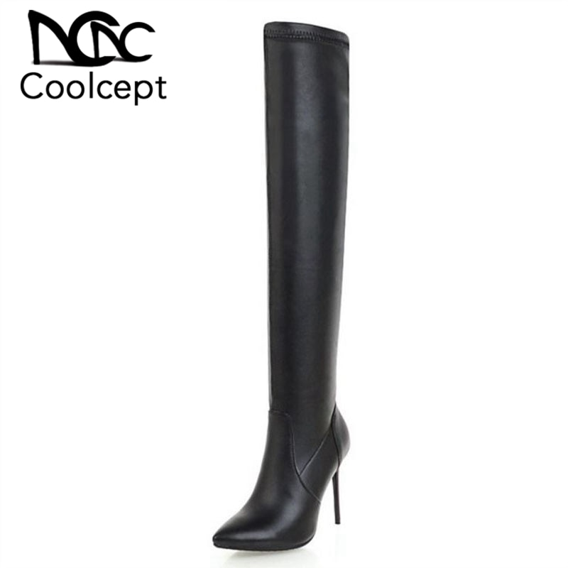 CoolCept, botas de tacón alto sexis para mujer de talla grande 33-46, zapatos cálidos de piel para mujer, botas tacón fino por encima de la rodilla, calzado de oficina para mujer