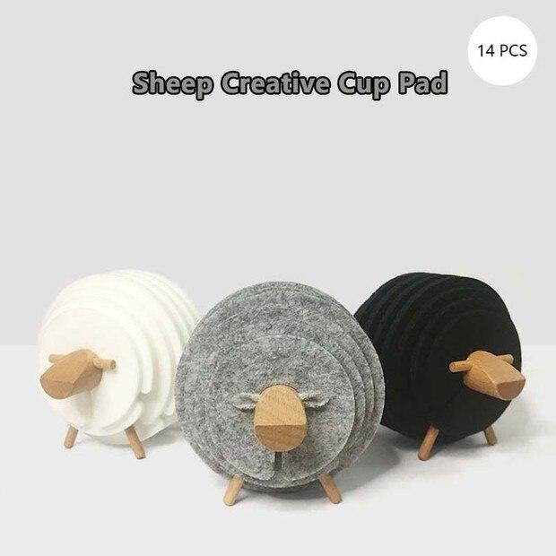 2019 nuevo 14 Uds antideslizante ovejas forma posavasos aislado ronda alfombras divertido taza Mat estera para taza regalos de inauguración de posavasos