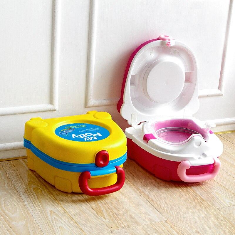 Orinal de viaje portátil bonito para el baño del bebé coche de entrenamiento Camping playa squatty Potty niños Pot Mini niños WC maleta niño niña