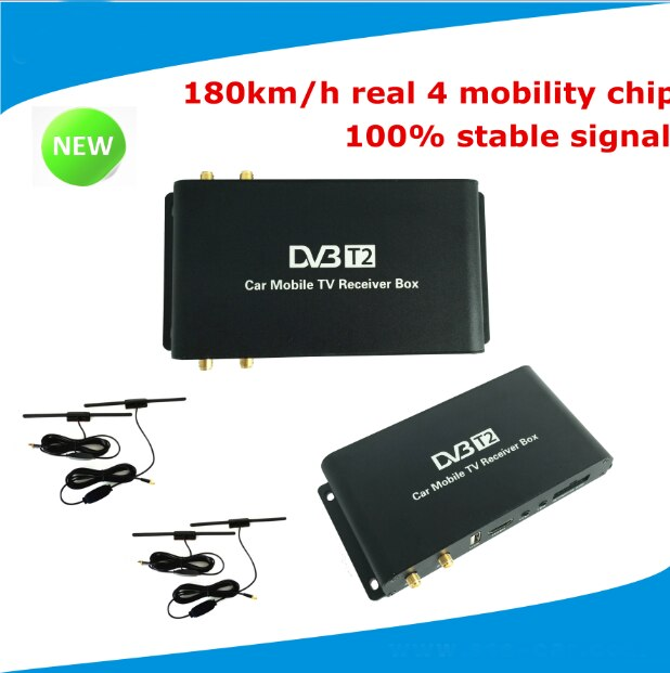 4 sintonizador móvil DVB-T2 coche digital caja tv vehículo DVB-T2 receptor de tv velocidad a 180 km/h para Rusia Kenya Tailandia Singapur, Colombia