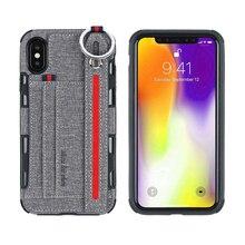 Wallet Card slot für iphone X XR Abdeckung Tuch Textur Metall Ring Fall Für iphone XS Max Für iphone XR 2019 telefon Fall Hand Lanyard