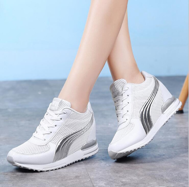 Moda mujer altura aumento verano transpirable impermeable cuñas Zapatillas Zapatos de plataforma mujer Pu cuero Casual zapato M680