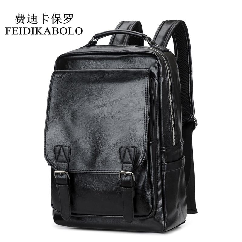 Mochila FEIDIKABOLO de piel de alta calidad para hombre, mochila escolar negra de viaje, mochila informal para ordenador portátil, mochila para hombre, mochila para hombre, novedad