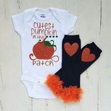3PCS Halloween Newborn Infant Kids Baby Girls Clothes Pumpkin Short Sleeve Cotton Casual Romper Leg Warmer Outfits Clothes
