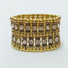 white Rhinestone antique gold Bangle Stretch Crystal Bracelet Stretch 2 Rows stands Elastic pulseras punkstyle praslet jewelry