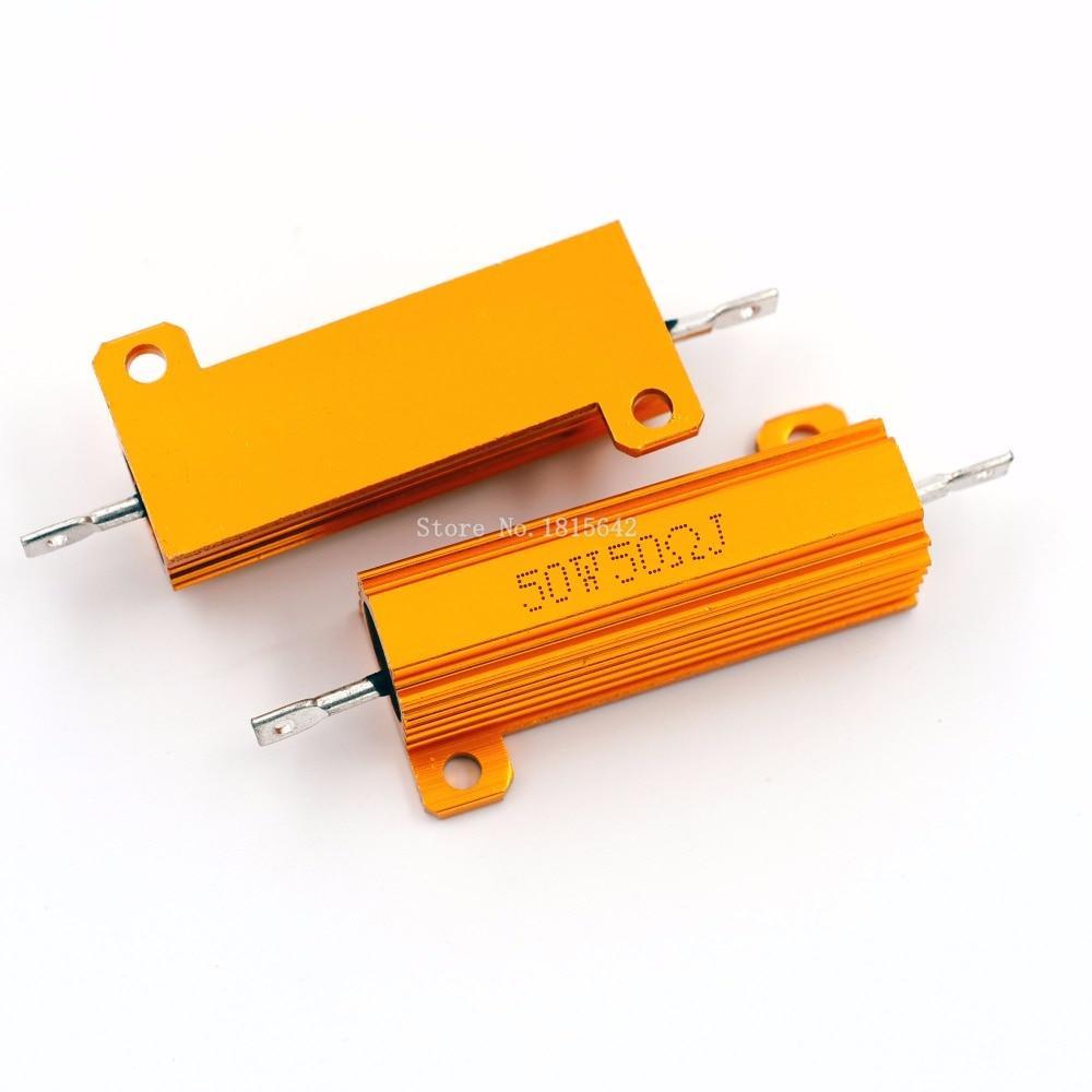 RX24 50 Вт 50R 50RJ металлический алюминиевый корпус высокой мощности резистор золотой металлический корпус резистор сопротивления радиатора 50 О...