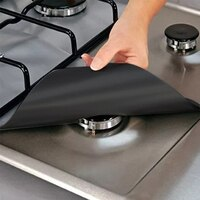 4pcs / 1pc Reusable Fiber Gas Stove Protectors Burner Cover Liner clean Mat Stovetop Protector Pad Home Kitchen Accessories