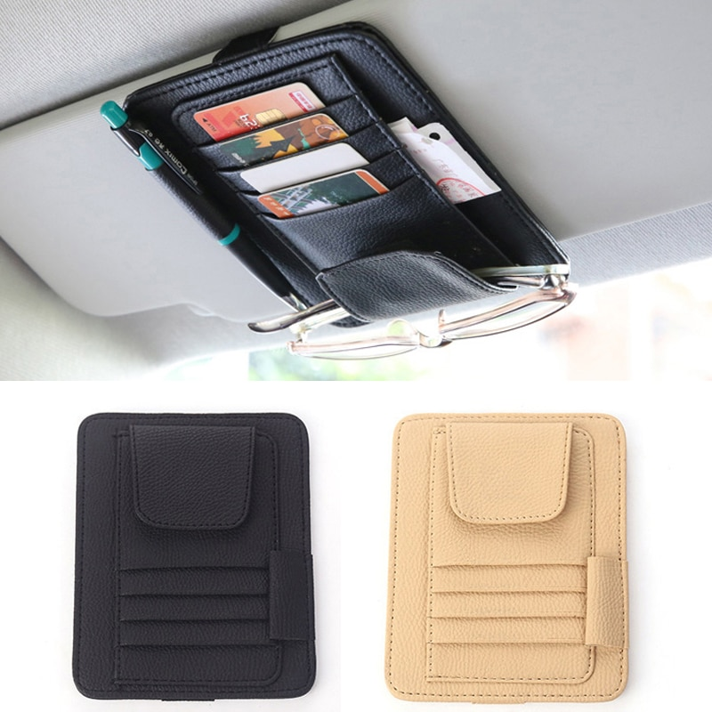 Car Sun Visor Card Holder Storage Bag For Mercedes Benz W205 W203 W204 W212 For Audi A4 A3 Q5 For BMW E39 E46 E60 E90 E91 F30