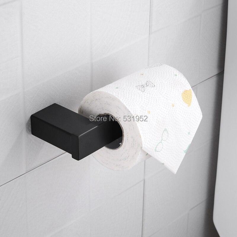 حامل لفافات ورق التواليت المثبت على الحائط ، حامل مناشف مربعة من الفولاذ المقاوم للصدأ ، أسود غير لامع ، تصميم عصري