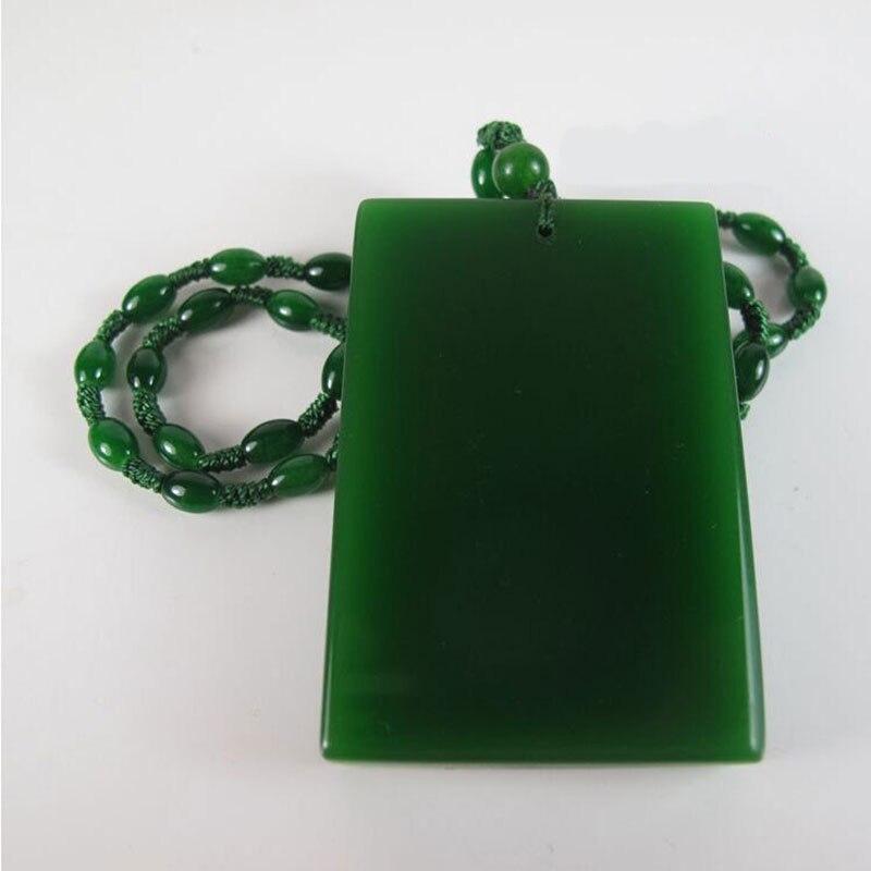 Natural hetian jade Verde jade seguro colgante collar con tarjeta de Navidad de las mujeres suéter cadena