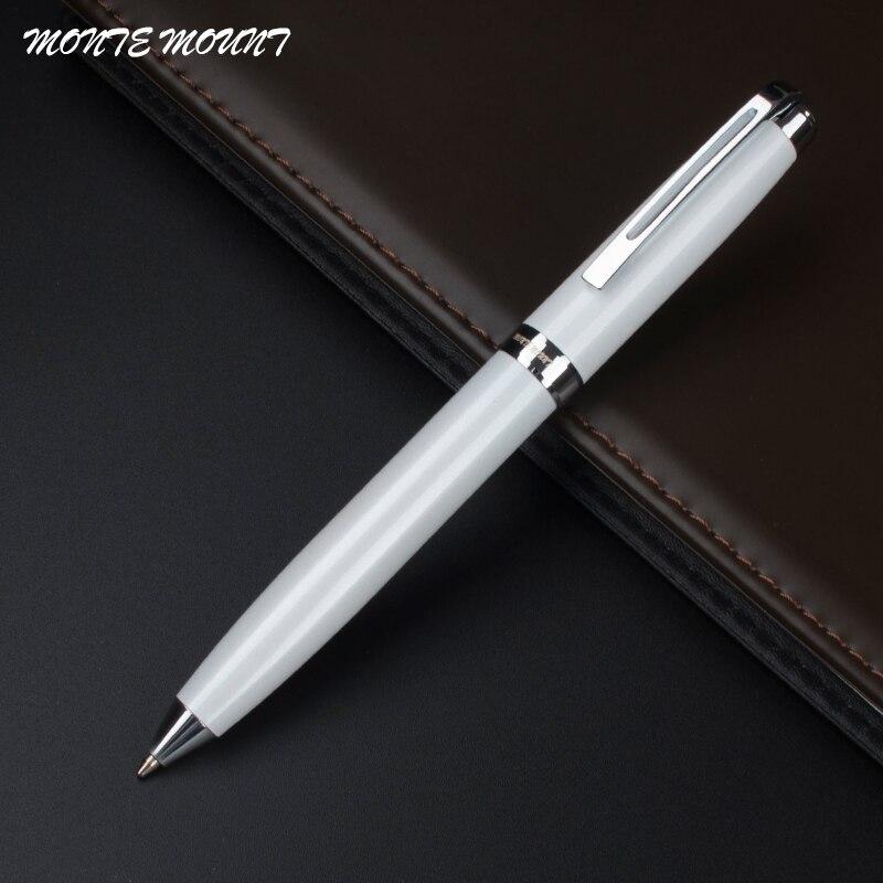 Монте крепление роскошные ручки-шариковая ручка белый серебристый зажим Бесплатная доставка