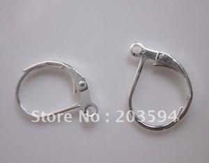 1000Pcs Silver Plated Lever Back Splitring Earring Findings Ear Wire Hooks 16x11mm Nickel FREE