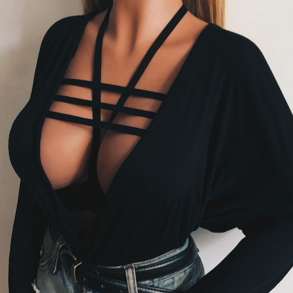 Mujer jaula atractiva sujetador elástico estilo jaula Body de tiras Hollow out sujetador más pechugón jaula elástica erótica Camiseta de tirantes chaleco negro Crop Top