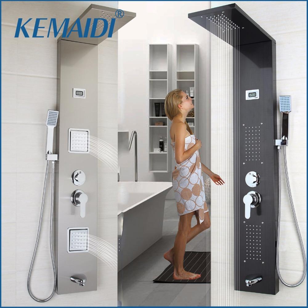 Современная душевая Колонка KEMAIDI из нержавеющей стали, настенная, с одной ручкой + ручной душ + Носик + массажная система, душевая панель