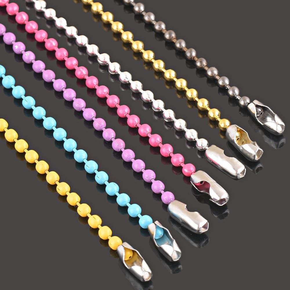 1Pc colorido pequeño collar de cadena de bola para el colgante o etiquetas de perro cadenas de fabricación de la joyería DIY 7 colores