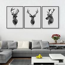 Tête de cerf noir abstrait moderne 3 pièces   Affiche A4, Hipster murale, décoration nordique de maison, toile peinture, sans cadre, cadeau