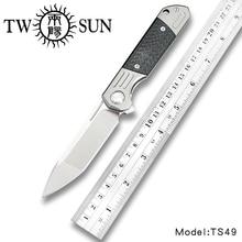 Dubsun couteau de poche pliable à lame, couteaux de chasse tactiques en Fiber de titane couteau de poche à ouverture rapide TS49