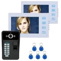 7 tft 2 monitor fingerprint recognition rfid password video door phone intercom doorbell with night vision security cctv camer