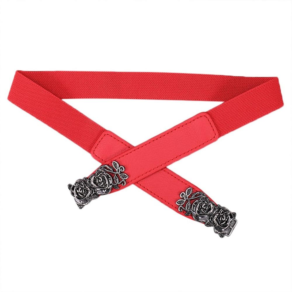 Fashion Women Ladies Elastic Band Belt Flower Buckle Belt Pure Color Waistband Belt Elegant Vintage Girls Dress Accessories 2019